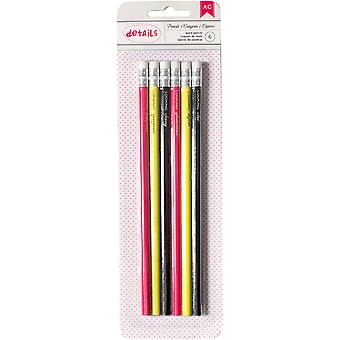 Designer Desktop Essentials Pencils 6/Pkg-Words 370836
