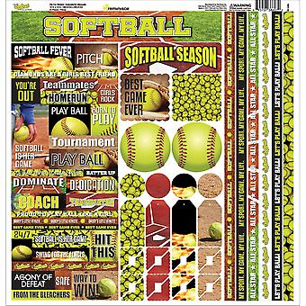 Softball Cardstock Sticker 12