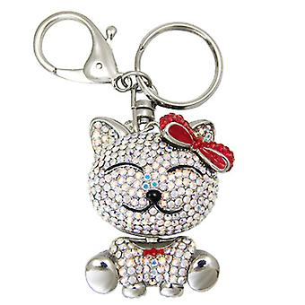 Butler and Wilson Crystal Cat with Bow Keyring