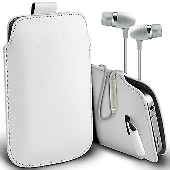 ( White + Earphones) Pouch Case For Xiaomi iMi 5 Standart Edition case Premium Stylish Faux Leather Pull Tab Pouch Skin Case Various Colours To Choose From With High Quality Fitted in Ear Buds Stereo Hands Headphones Headset with Built in Micro phone Mic and On-Off Button Xiaomi iMi 5 Standart Edition Cover By i-Tronixs