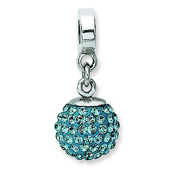 Sterling Silber poliert Reflexionen Dec Crystal Ball Dangle Bead Charm
