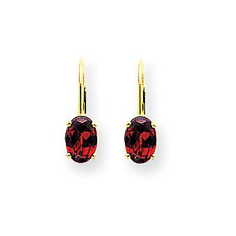 14k Yellow Gold Polished 7x5mm Oval Garnet Leverback Earrings - 2.00 cwt