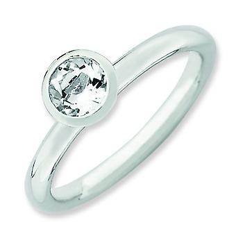 Sterling Silver Stackable Expressions High 5mm April Crystal Ring - Ring Size: 5 to 10