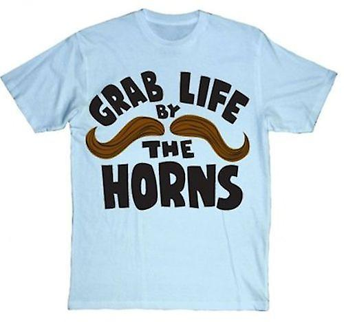 Goodie Two Sleeves Grab Life By The Horns Mens Tshirt Blue