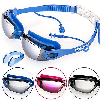 Proworks Anti-Fog, Mirrored, UV Protection Swimming-Goggles (Blue)