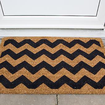 Natural Coir Black Chevron Doormat