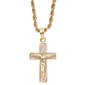 Iced out bling rope cord chain - gold GLITTER JESUS cross