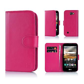 32nd Book Leather Wallet Case + stylus for LG K3 (2017) - Hot Pink