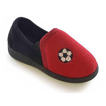 SlumberzzZ Boys Football Design Classic Slip On Cord Style Fleece Lined Slipper