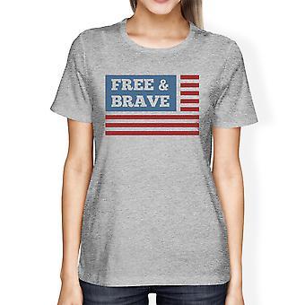 Gratis & dappere Amerikaanse vlag Amerikaanse vlag Shirt Womens Grey katoen Tshirt