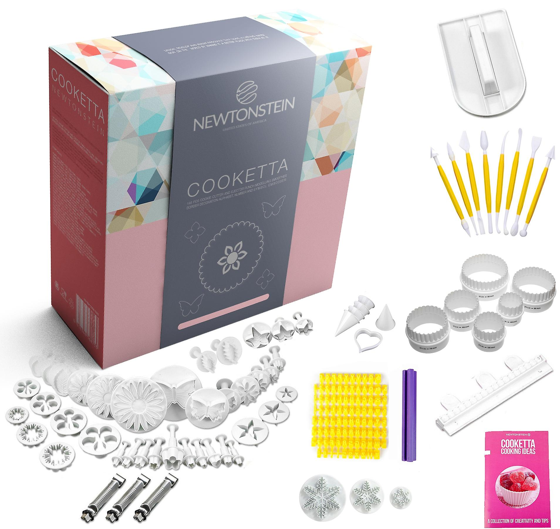 Cooketta - 157 Pcs Tart Pastries Canaps Icing Cake Clay Fondant Sugarpaste Scones and Cookies Cutter and Embosser Design Set with Ideas Booklet