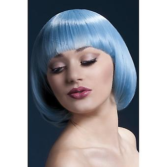 "Smiffy's Fever Mia Wig Pastel Blue , Short With Fringe (10"", 25cm)"