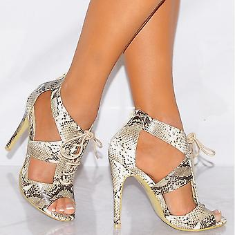 Koi Couture Ladies Ed13 Nude Snake Print Strappy Sandals