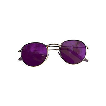 Cool urban sunglasses with purple mirror glass gold