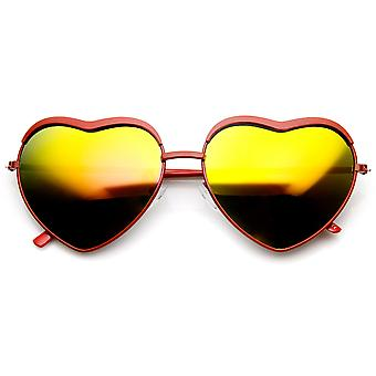 Womens Fashion Metal Heart Shaped Color Mirror Sunglasses