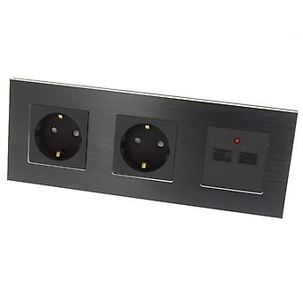 I LumoS Luxury Black Brushed Aluminium Frame Double German EU 16A Schuko + 2.1A USB Triple Socket