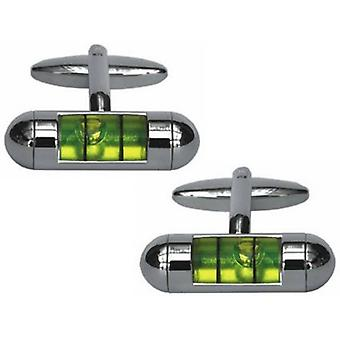 Zennor Spirit Level Cufflinks - Silver/Green