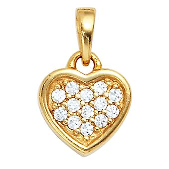 Gold plated 925 sterling silver heart pendant pendant heart with cubic zirconia