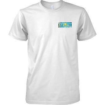 Kasachstan Grunge Land Name Flag Effect - Mens Brust Design T-Shirt