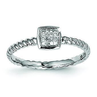Sterling Silver Polished Rhodium-plated White Diamond Stackable Ring - Ring Size: 6 to 8