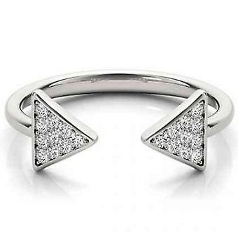 1/5ct Diamond Ring Open Triangle Fashion Right Hand Split Band White Gold