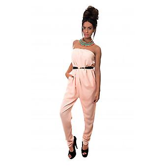 The Fashion Bible Bonita Strapless Jumpsuit In Peach