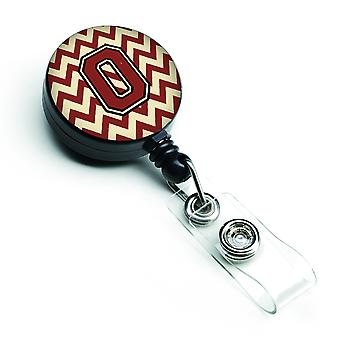 Letter O Chevron Maroon and Gold Retractable Badge Reel