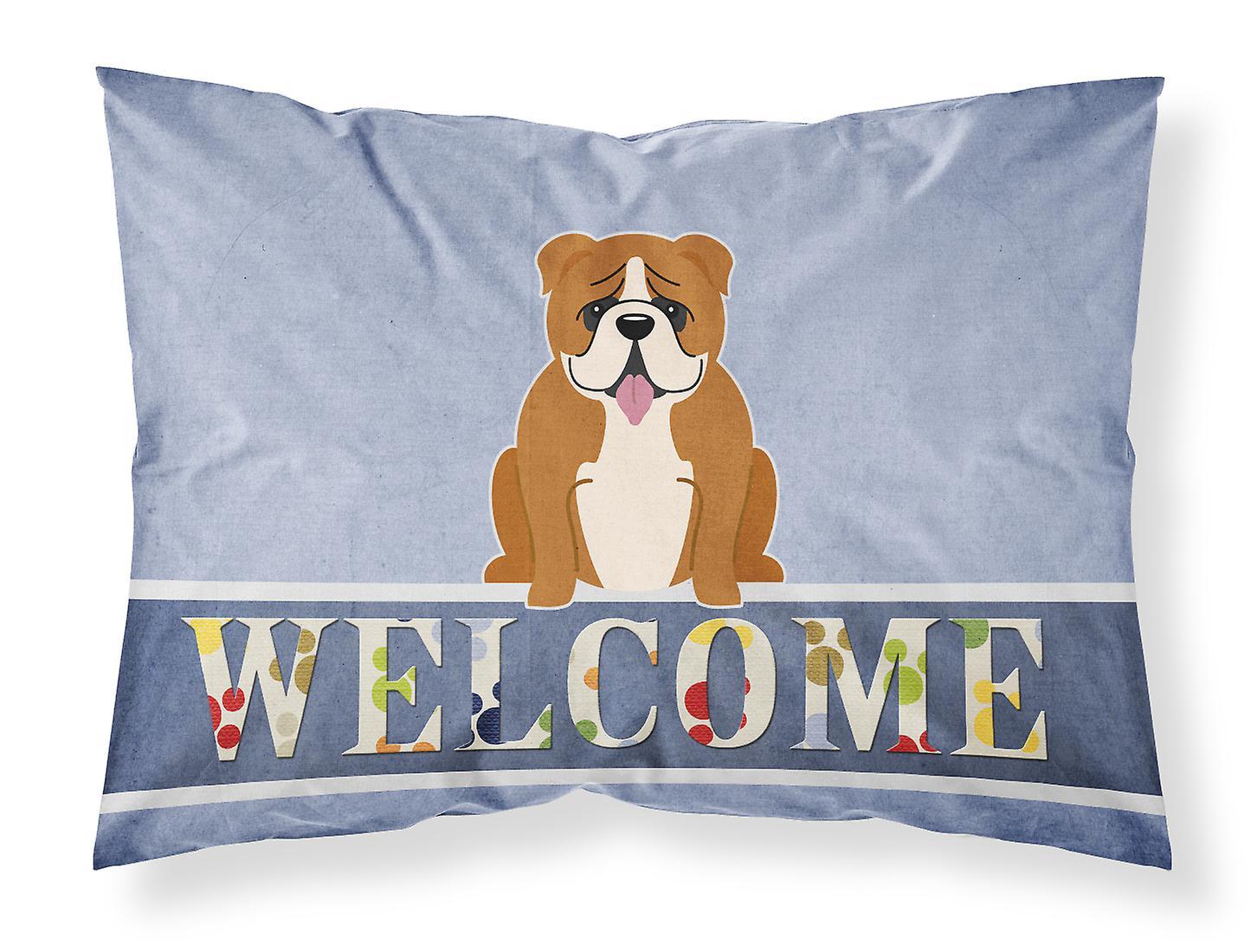 Taie Bienvenue Rouge D'oreiller Tissu Blanc Bulldog Standard Anglais YfI7b6gvy