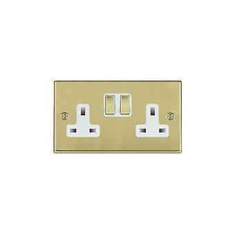 Hamilton Litestat Hartland Polished Brass 2g 13A DP Switched Socket PB/WH
