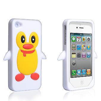 YouSave tilbehør iPhone 4 og 4s silikonvesken Penguin - hvit
