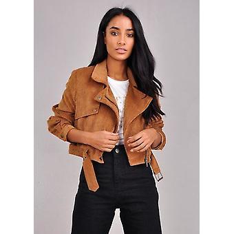 Pana recortado Biker chaqueta marrón Camel