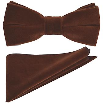 Luxury Walnut Brown Velvet Bow Tie & Pocket Square Set