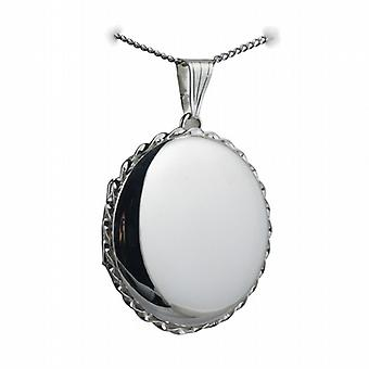 Silver 31mm plain twisted wire edge round Locket with a curb Chain 18 inches
