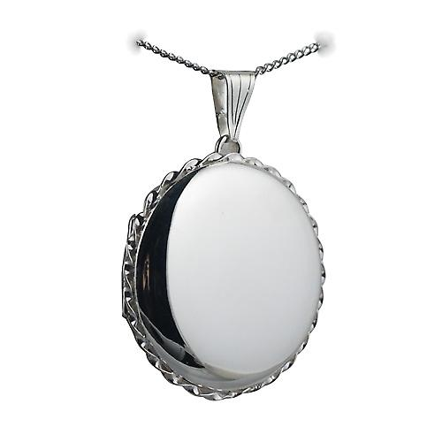 Silver 31mm plain twisted wire edge round Locket with a curb Chain 24 inches