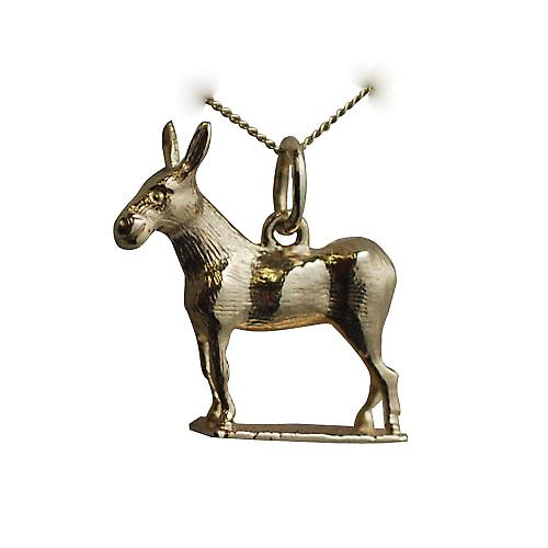 9ct Gold 19x18mm Donkey Charm with a curb chain