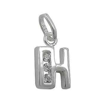 Pendant initiale h with cz silver 925
