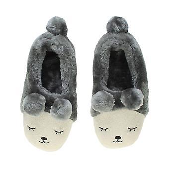 Ajvani женские зимние меховый выстроились пом пом новизна медведь животных лица Тапочки дом обувь