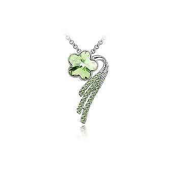 Womens Flower Petal Pendant Necklace Jewellery Green Crystal Stone