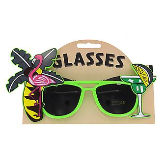 Novelty Tropical Flamingo Palm Tree Hawaiian Sunglasses Fancy Dress Accessory