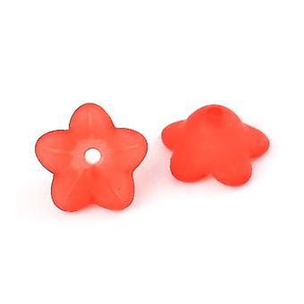 Packet 50+ Red Lucite 7 x 13mm Flower Beads HA26710