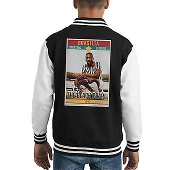 Sporting Legends Poster Brazil Pele The Black Pearl World Cup Kid's Varsity Jacket