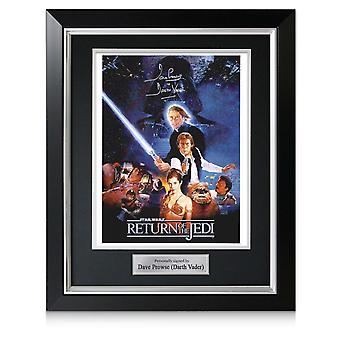 Darth Vader Signed Return Of The Jedi Poster In Deluxe Black Frame With Silver Inlay