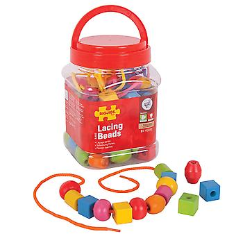 Bigjigs Toys Jar of Lacing Beads Threading Activity Arts Crafts Kids Children