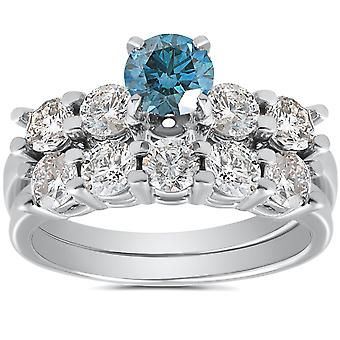 2 1/2ct Blue & White Diamond Engagement Ring Set 14K White Gold