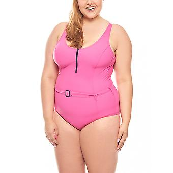 Shaping swimsuit C Cup plus size pink heine