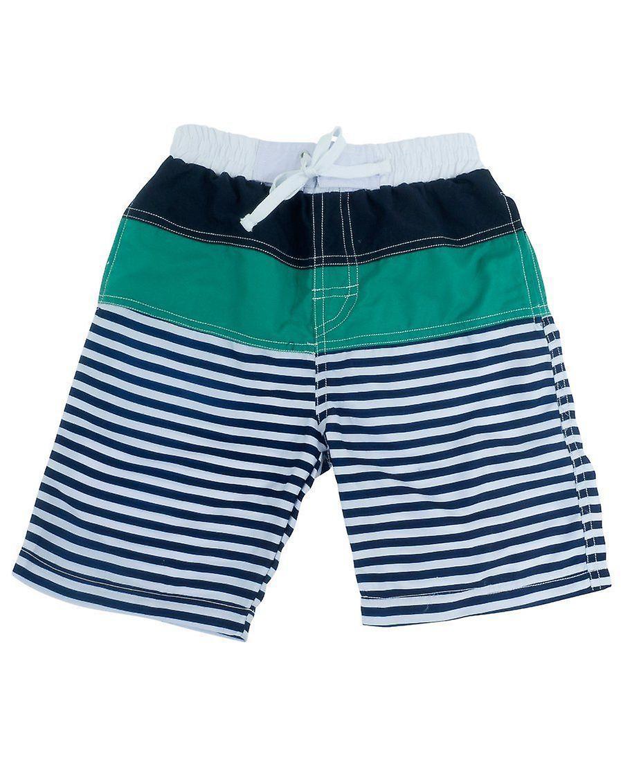 Banz Kids UV Striped Board Shorts - Navy-Green
