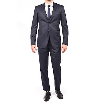 Pierre Balmain Wool Two Button Suit Black Dark Navy