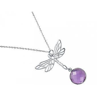 Gemshine - ladies - pendente - 925 collana in argento - libellula - - ametista - viola - viola - 45cm