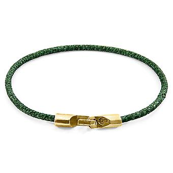 Anchor & Crew Racing Green Talbot 9ct Yellow Gold and Stingray Leather Bracelet