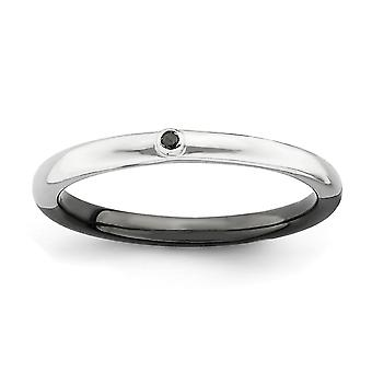 2.25mm 925 Sterling Silver Bezel Reversible Rhodium-plated Ruthenium plating Stackable Expressions Polished Half White B